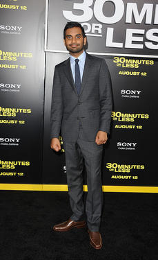 Aziz Ansari at the California premiere of &quot;30 Minutes Or Less.&quot;
